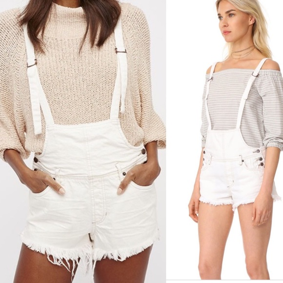Free People Denim - Free People Strappy Shorttalls white overalls